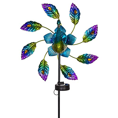 Molinillo de Viento para el jardín de Metal Spinner de viento solar al Con luces de advertencia LED que se encienden automáticamente por la noche adecuadas para pasarelas de jardín y senderos de céspe