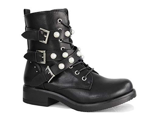 irisaa Damen Stiefeletten Stiefel schwarz mit Strass oder Perlen Schnür Biker Boots, Größe Normal:39, Winterschuhe Farbe 2019:Black