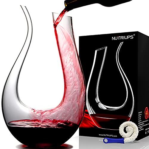 Decanter per Vino NUTRIUPS Decanter a Forma U Decanter in Cristallo Vetro 1.5L Caraffa Vino Rossa Decantatore Design Aeratore per Vino Decanter Vino Rosso per 750ml Soffiato Decanter Set