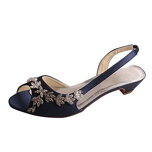 Zapatos De Novia Mujer Tacón Ancho Bajo Peep Toe Satén Rhinestones Sandalias...