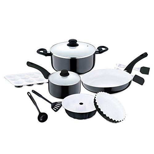 Renberg Manhattan Batería de Cocina de 12 Piezas, diámetros de 16 cm y 24 cm, Apto para inducción, Color Blanco y Negro, Aluminio
