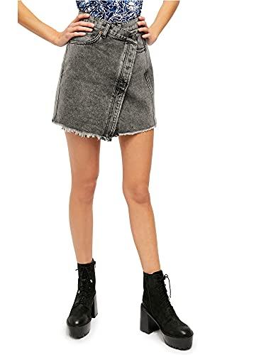 Free People Womens Black Mini Wrap Skirt Size 26