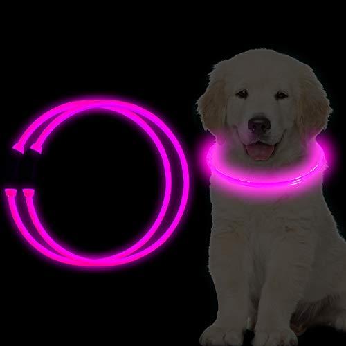 Collar de luces LED para perro RICOVO para la noche – recargable por USB, resistente al agua, súper brillante, collar para perro, gato, collar a la moda para perros pequeños, medianos y grandes