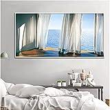 Crazystore Impresión en Lienzo 70x140cm Pintura al óleo Realista sin Marco Impresión artística Mar y Sol Ventana Pintura de Pared Exterior Sala de Estar, decoración del hogar