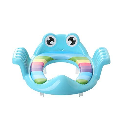 DingLong Faltbare Toilettensitze für Kinder/Baby, Tragbarer, Klappbar, Rutschfest, Frosch Cartoon WC Sitz,Verstellbarer Trainingsstuhl Blau