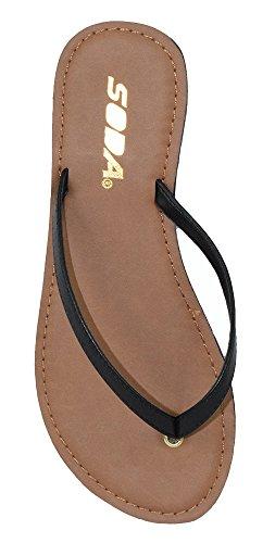 Soda Shoes Women Flip Flops Basic Plain Sandals Strap Casual Beach Thongs FELER Black 7