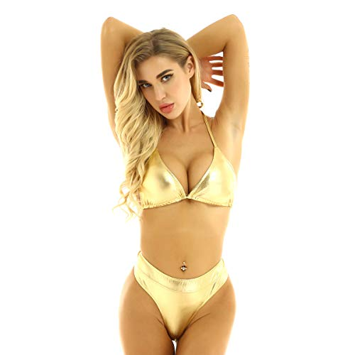ranrann Traje de Baño Dos Piezas para Mujer Conjunto de Bikini Cuero Metálico Sujetador Cuello Halter con Mini Tanga Sexy Ropa Erótica Swinsuit
