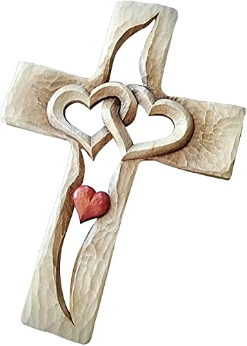 Carved Cross Intertwined Heart,Resin Cross Carved Antique Design, and Family Members in The Name of Love and Hope,for Wall Hanging Home Living Room Decor