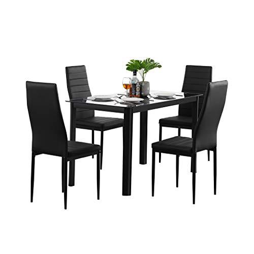 TWOC-QPD Juego de mesa de comedor para 4 personas, patas de metal con mesa superior de cristal templado y respaldo alto de piel sintética