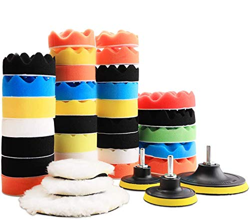 "Benavvy 39pcs Polishing Pad Kit, 2 in 1 Car Foam Drill,7-5"" & 31-3"" Buffing Pads car Care Polisher Waxing Polishing"