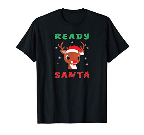 Rudolph Red Nose Reindeer Face Christmas Gift Kids T-Shirt