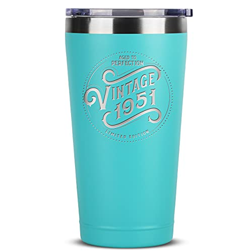 70th Birthday Gifts for Women - 1951 16 oz Mint Tumbler - 70th Birthday Decorations for Women - Birthday Gifts for 70 Year Old Women Mom - Funny 70th Birthday Idea Presents for Women - 70th Gift Idea