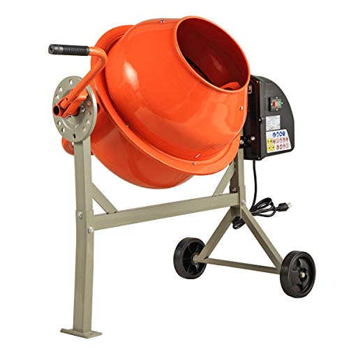 Electric Cement Mixer, Concrete Mixer Commercial with Stand, Small Machine Mixing for Wheelbarrow, 2 1/4 Cu.Ft (Orange Grey)