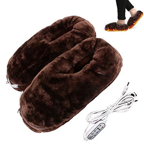 Congci Zapatillas con calefacción eléctrica, Zapatos Unisex con calefacción eléctrica, Zapatillas con calefacción eléctrica, Calentadores de pies cómodos y Lavables, Calentador de pies eléctrico