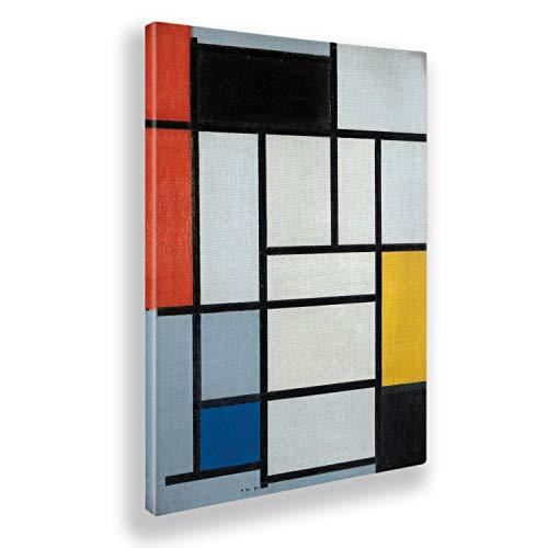 Giallobus - Pinturas - Piet Mondrian - Composición n. 6 con Gran Rojo Amarillo y Gris - Lienzo - 50x70 - Listo para Colgar - Cuadros Modernos para el hogar