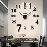 Biramba Frameless DIY Wall Clock,3D Surface Mirror Wall Clock Modern Design Large Mute Wall Watches Stickers for Living Room Bedroom Home Decorations(005)