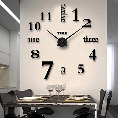 Biramba Frameless DIY Wall Clock,3D Surface Mirror Wall Clock Modern Design Large Mute Wall Watches Stickers for Living Room Bedroom Home Decorations (Silver)