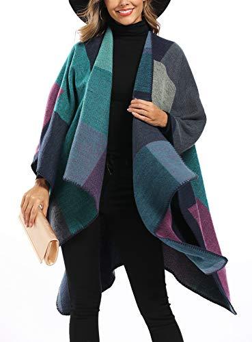 Epsion Women's Color Block Shawl Wrap Plus Size Cardigan Poncho Cape Open Front Long Winter Sweater Coat Purple