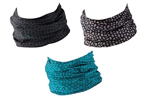 Hilltop 3er Set Motorrad Multifunktionstuch, Schlauchtuch, Halstuch, Sporttuch in den neuesten Designs, 3er Set/Farben:Grey Blue Selection