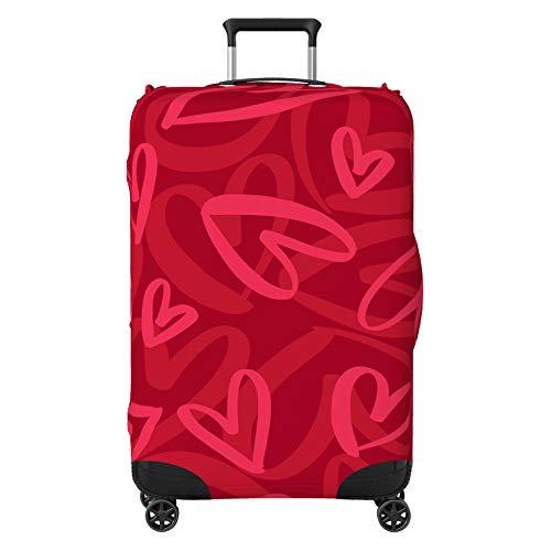 """Funda protectora para maleta, diseño de corazón con texto en inglés """"Love Heart Abstracto"""", color rojo (maleta no incluida)."""
