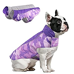 MORVIGIVE Camo Reversible Dog Winter Coat, Waterproof Windproof Pet Cold Weather Jacket for Small Medium Large Dogs, Warm Puppy Fleece Vest Pet Apparel Clothes with Reflective Strips & Harness Hole