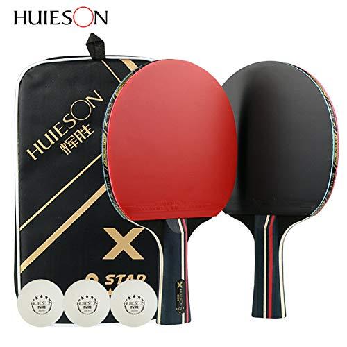 ZOORE Set da Ping Pong Includere 2 Racchetta Ping Pong e 3 Tennis da Tavolo(Premium a Doppia Faccia + Palline Ping Pong + Borsa Portatile)