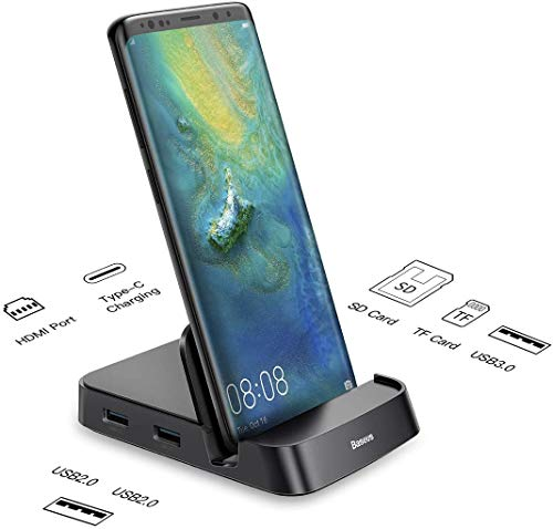 USB C HUB Dockingstation, Baseus 7 in 1 Smart Dex-Station für Smartphone, Typ C zu 4K HDMI, Netzteil für USB C Handys Samsung Galaxy S10/S9/S8/S10+/S9+ Note 9/8, Huawei P30 P20 Pro, Mate 10, Schwarz