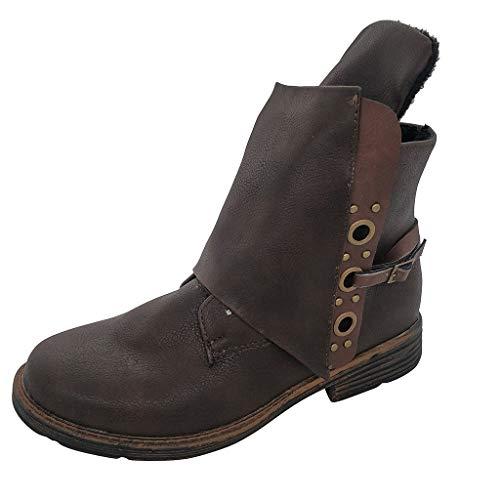 Zapatillas de Moda Botines Biker Mujer Botas de Tacón Zapatos Casuales con Cremallera Lateral Botas de Nieve Hebilla de Cuero Vintage Bota Corta 35-43 riou