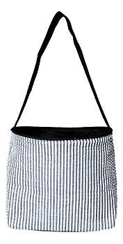 Seersucker Medium Fabric Easter Basket Bucket Tote Bag  Black- No Embroidery