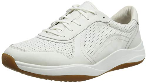 Clarks Herren Sift Speed Sneaker, Weiß (White Leather White Leather), 43 EU