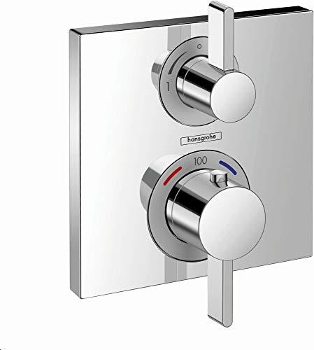 hansgrohe Ecostat Square Modern Premium Volume et contrôle automatique de la température Garniture de douche thermostatique à 2 poignées de 6 po de large pour valve brute avec inverseur en chrome, 15714001
