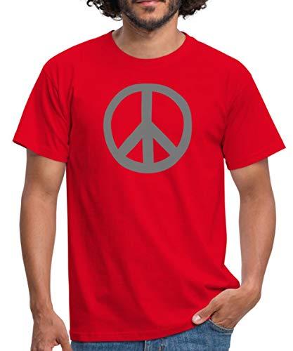 Peace Symbol Hippie Männer T-Shirt, XXL, Rot