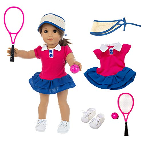 ZQDOLL American Doll Clothes Tennis Outfit for 18 Inch Doll Clothes- Includes Hat,Dress, Racket, Ball and Shoes.Fit American Doll, Our Generation Doll, My Life Doll