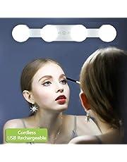 Make-up Lights Draadloze Draagbare, LED Vanity Spiegel Licht Kit Hollywood Stijl USB Oplaadbaar, 4 Dimbare Lampen Multifunctionele Vullichten Batterij Aangedreven voor Kaptafel Badkamer (geen Spiegel)