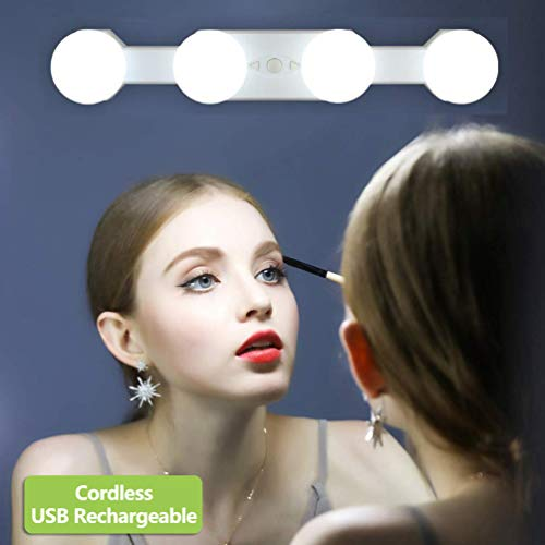 Luces para Espejo de Maquillaje LED Tocador, Kit de Luces de Espejo de Make Up Sin Cuerda Portátil Recargable, 4 Bombillas Regulables Temperatura de Color, para Tocador Baño (Sin Espejo)