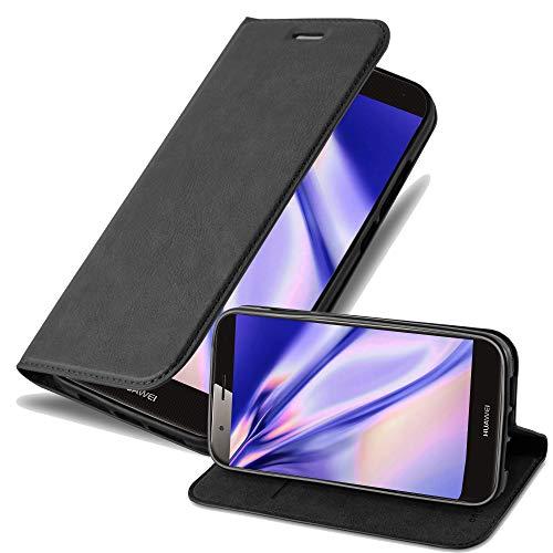 Cadorabo Hülle für Huawei G7 Plus / G8 / GX8 in Nacht SCHWARZ - Handyhülle mit Magnetverschluss, Standfunktion & Kartenfach - Hülle Cover Schutzhülle Etui Tasche Book Klapp Style