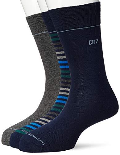 Mens CR7 3 Packs Socks in Navy Grey