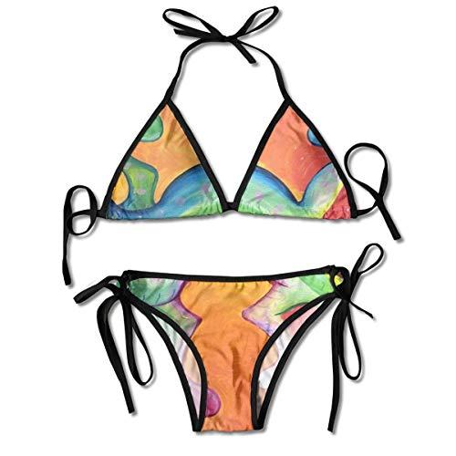 Johnson hop Oil Painting Gecko Women Swimsuit Bikini Set Beach Resort(One Size