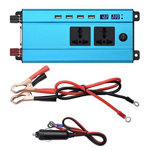 Nsdsb Cargador del inversor de Corriente del Coche 5000W DC 12V / 24V a AC 220V / 110V Transformador de Voltaje Azul