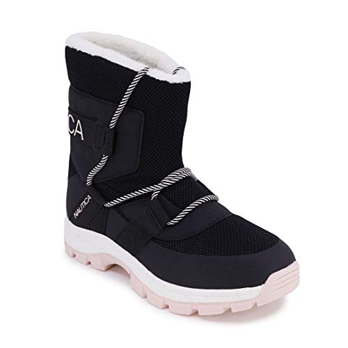 Nautica Womens Snow Boots - Faux Fur Insulated Sneaker Boot Shoe -Palo Verde-Black/Pink-9.5