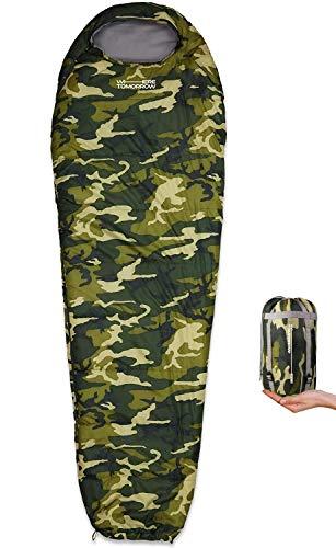Lumaland x Where Tomorrow Saco de Dormir Ligero Impermeable para Verano e Invierno con Bolsa de Transporte Incluida - Ideal para Camping, Acampada y Festivales - 220 x 80 x 50 cm/Verde Camuflaje
