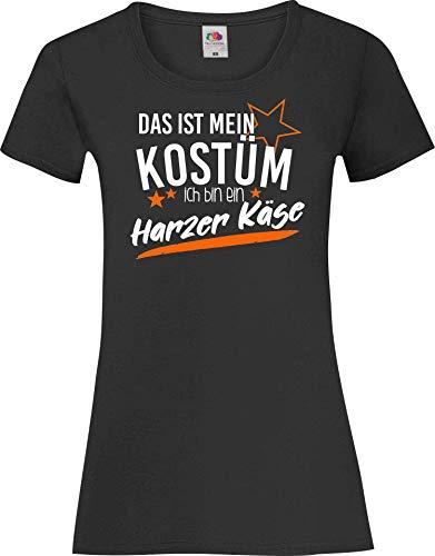 Lady-Shirt Das ist Mein Kostüm ich Bin EIN Harzer Käse Verkleidet Karneval Fasching Kostüm Verkleidung, schwarz, L
