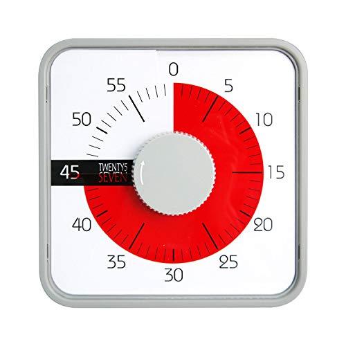 19 cm Minuteur à rebours, minuteur visuel, minuteur d'examen, minuteur de cuisine, pour enfants et adultes,salle de classe, devoirs, jeux, cuisine, bureau, réunions, bureau, réunions, Gris