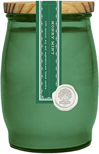 Honey Mint Barrel Glass Jar Candle