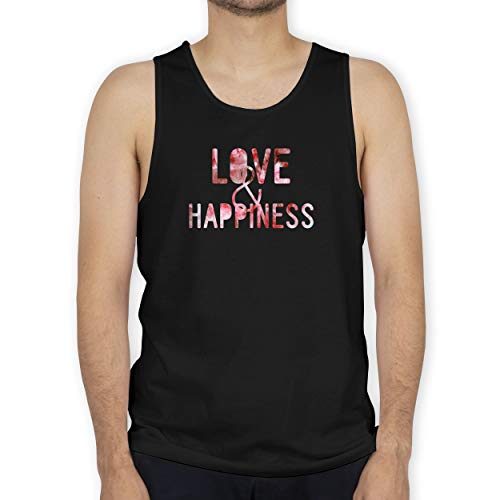 Shirtracer Statement - Love & Happiness Pink - M - Schwarz - Motto - BCTM072 - Tanktop Herren und Tank-Top Männer