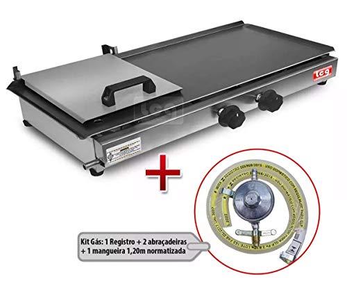 Chapa Lanche Hot Dog c/Prensa 2 Bocas Lcg 30x60 c/Kit Gás