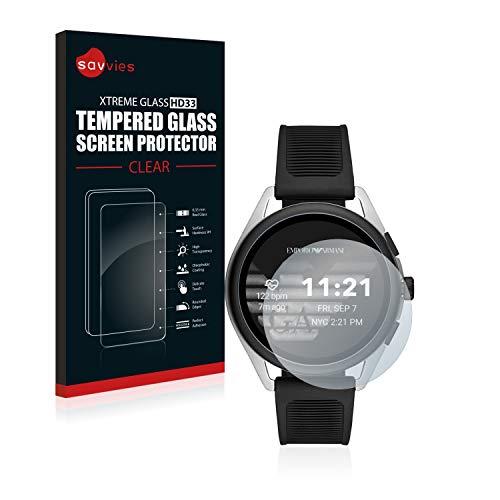 savvies Pellicola Vetro Temperato Compatibile con Emporio Armani Connected Smartwatch 3 Protezione, Schermo Protettivo, Glass Durezza 9H