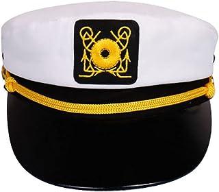 قبعة قبطان رونجرو البيضاء قبعة بحار قبعة قبطان ممتعة للرجال اكسسوارات القوارب قبعة قبطان للكبار