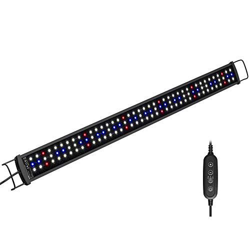 NICREW SilmLED Lampada LED Acquario con Timer Impermeabile, LED Acquario con Luce a Spettro Completo Regolabili per Piante Acquatiche, 75-90 cm, 20 W, 1300 Lumen
