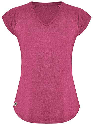 GO HEAVY Damen Fitness Funktions Sport T-Shirt Laufshirt Kurzarm Schnelltrocknend Yoga Sportoberteil | Rosa M